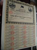 LES AFFRETEURS REUNIS / Action (B) De Cent Francs Au Porteur - 1921 - N° 102,807 ( Zie/Voir Foto ) ! - Transports