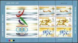 Albania Stamps 2001. Mediterranean Games, Sport. Tunis 2001. 2818-2820. Sheet MNH. - Albania