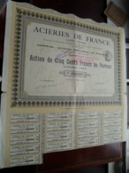Aciéries De France / Action De Cinq Cents Francs Au Porteur - 1911 - N° 12,121 ( Zie/Voir Foto ) ! - Actions & Titres