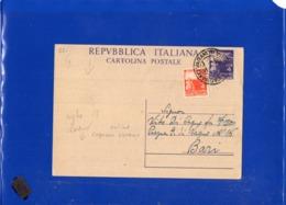 ##(DAN1911)-27-1-1948-Cartolina Postale L.4 Da Cagnano Varano-Foggia Per Bari, Varietà Righe Di Colore Orizzontali - 6. 1946-.. Republik