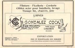 1928 - Lokeren - Filature-Corderie - Gonzales Cock - Dim. 1/2 A4 - Werbung