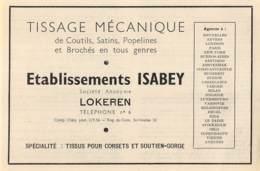 1947 - LOKEREN - Tissage Mécanique Ets. ISABEY - Dim. 1/2 A4 - Publicités