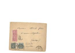 Lettre Pour Paris Renvoyé En GB , Aff Du 130 Interpanneau + Le 10c (2) Semeuse Lignée Obl Type 04 De Narbonne 7.4.1906. - 1903-60 Semeuse Lignée