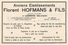 1947 - LEBBEKE - Poils Pour Chapellerie - Ets Florent HOFMANS & Fils - Dim. 1/2 A4 - Pubblicitari