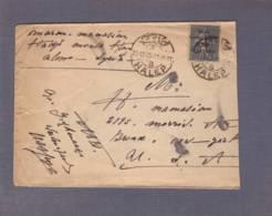 Lettre  Aff Semeuse Lignée 50c Surch. Syrie- Grand Liban  Obl. Halep 22.12.1923-> New York - Grand Liban (1924-1945)