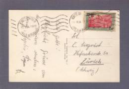 """Carte à Vue """"le Port Et Monté-Carlo"""" Aff  PA 1 Obl. Monaco-Condamine 11.10.1934 -> Zurich - Airmail"""