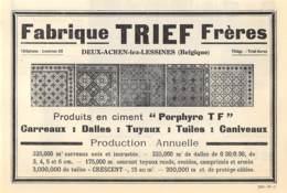 1927 - DEUX-ACREN-lez-LESSINES - Produits En Ciment - Fabrique TRIEF Frères - Dim. 1/2 A4 - Publicités