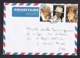 Burkina Faso: Airmail Cover To Italy, 3 Stamps, Princess Diana, Lady Di, Royalty, Rare Real Use (2 Stamps Damaged!) - Burkina Faso (1984-...)
