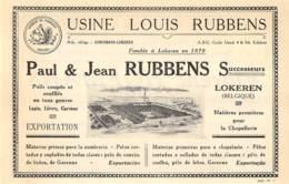 1927 - LOKEREN - Usines Louis RUBBENS - Dim. 1/2 A4 - Publicités