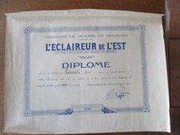 1932 L'ECLAIREUR DE L'EST CONCOURS DE DEVOIRS DE VACANCES DIPLOME DELIVRE A  MONSIEUR LOUVET GUY - Diplomas Y Calificaciones Escolares