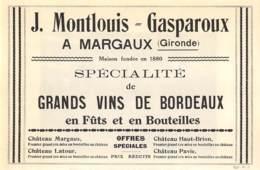1927 - MARGAUX (Gironde) - Grands Vins De Bordeaux - J. MONTLOUIS-GASPAROUX - Dim. 1/2 A4 - Werbung
