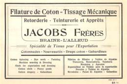1927 - BRAINE-L'ALLEUD - Filature De Coton - JACOBS Frères - Dim. 1/2 A4 - Publicités
