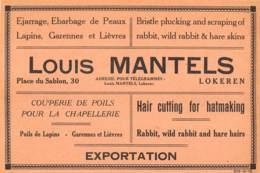 LOKEREN - Place Du Sablon - Couperie De Poils - Louis MANTELS - Dim. +/- 1/2 A4 - Publicités