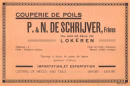 LOKEREN - Rue De Zele - Couperie De Poils - P. & N. DE SCHRIJVER - Dim. +/- 1/2 A4 - Werbung
