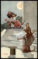 ALTE POSTKARTE DACKEL VERMENSCHLICHT VERLIEBT Mond Hund Dachshund Teckel Dog Chien Postcard Cpa AK - Animali Abbigliati