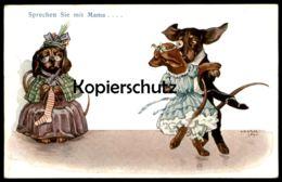 ALTE POSTKARTE DACKEL VERMENSCHLICHT SPRECHEN SIE MIT MAMA Hund Dachshund Teckel Dog Marriage Chien Postcard Cpa AK - Animali Abbigliati