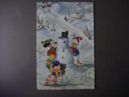 Carte Bonne Année - Collection WALT DISNEY Productions - Avec Mickey - Donald Duck - Photographie - Cochon - Cómics