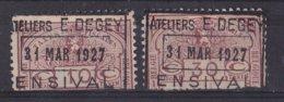 België - Fiscale Taxen - Ateliers E. Degey - Ensival - 2 Waarden - Steuermarken