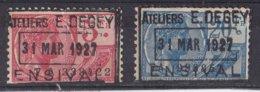 België - Fiscale Taxen - Ateliers E. Degey - Ensival - 2 Waarden - Revenue Stamps