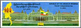 Myanmar Birmanie Burma 302 Fête Nationale , Drapeau - Myanmar (Birmanie 1948-...)