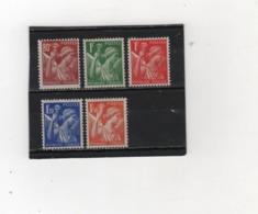 FRANCE   1939-41  Y.T. N° 431 à 435  NEUF*  Charnière  Ou  Trace - 1939-44 Iris