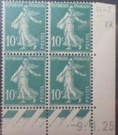 R1189/254 - 1925 - TYPE SEMEUSE - BLOC - N°159 (III) TIMBRES NEUFS** CdF Daté - ....-1929
