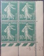 R1189/256 - 1927 - TYPE SEMEUSE - BLOC - N°159 (III) TIMBRES NEUFS** CdF Daté - ....-1929