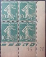 R1189/257 - 1928 - TYPE SEMEUSE - BLOC - N°159 (III) TIMBRES NEUFS** CdF Daté - ....-1929