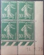 R1189/258 - 1929 - TYPE SEMEUSE - BLOC - N°159 (III) TIMBRES NEUFS** CdF Daté - ....-1929