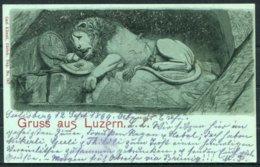 1899 Switzerland Gruss Aus Luzern Lion Postcard. LUZERN-FLÜELEN SCHIFF Schweiz Schiffpost Stempel - Basel - Briefe U. Dokumente