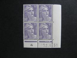 A). Bloc De 4 Coin Daté:  12.06.1951 Du N° 883, Neuf XX . - 1950-1959