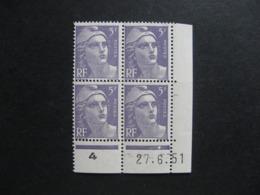 B). Bloc De 4 Coin Daté:  27.06.1951 Du N° 883, Neuf XX . - 1950-1959