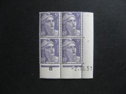 C). Bloc De 4 Coin Daté:  02.10.1951 Du N° 883, Neuf XX . - 1950-1959