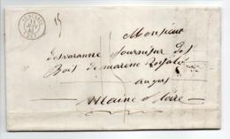 - Lettre SAINT-AULAYE (Dordogne) Pour ANGERS (Maine-et-Loire) 14 JUIN 1843 - Taxe Manuscrite 15 Décimes - - Postmark Collection (Covers)