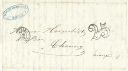 MARQUE POSTALE ABBEVILLE SOMME POUR CHAUNY AISNE / TAXE 25 DOUBLE TRAIT / 1852 / SCIERIE HENOCQUE GARDIEN & FILS - Storia Postale