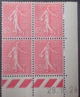 R1189/265 - 1924 - TYPE SEMEUSE LIGNEE - BLOC - LUXE - N°201 TIMBRES NEUFS** CdF Daté - ....-1929