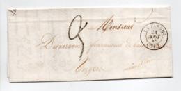 - Lettre LA FLECHE (Sarthe) Pour ANGERS (Maine-et-Loire) 24 AOUT 1845 - Taxe Manuscrite 3 Décimes - - Marcofilia (sobres)