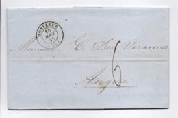 - Lettre HONFLEUR (Calvados) Pour ANGERS (Maine-et-Loire) 15 AOUT 1845 - Taxe Manuscrite 6 Décimes - - Marcophilie (Lettres)