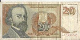 YOUGOSLAVIE 20 NOVIH DINARA 1994 VF P 150 - Jugoslavia