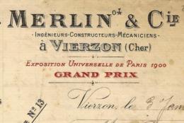 1910  ENTREPRISE HISTORIQUE !! MACHINES A BATTRE MACHINES A VAPEUR MERLIN à Vierzon =>BERANGER USINE LANGEAIS - Frankrijk