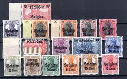 Belgien 10/25 SATZ ** POSTFRISCH 380EUR (B3796 - Besetzungen 1914-18