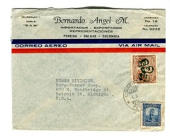 COLOMBIA COMMERCIAL COVER - CIRCULATED FROM CAIRO TO PEREIRA TO MICHIGAN, U.S.A.. CIRCA 1940 AIR MAIL -LILHU - Colombia