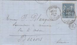 Yvert 90 Sage Lettre Entête Florent Réglisses AVIGNON Vaucluse 15/2/1880 Cachet OL Origine Locale Cantarel à Béziers - Marcofilie (Brieven)