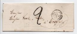 - Lettre ANGLURE (Marne) Pour TROYES (Aube) 21 JUIN 1849 - Taxe Manuscrite 2 Décimes - - Marcophilie (Lettres)