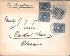 SANTIAGO DE CHILE 1913 A FRANKFURT AM MAIN ENVELOPPE CIRCULEE ENTIER AVEC 3 TIMBRES O'HIGGINS - Chile