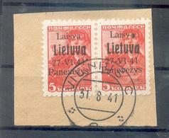 Litauen PONEWESCH 4b PAAR Auf Gest. Luxusbriefst�ck+gepr. 280EUR (A8108 - Bezetting 1938-45