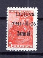 Litauen ZARASAI 1aIII Tadellos ** POSTFRISCH 40EUR (B5020 - Occupation 1938-45
