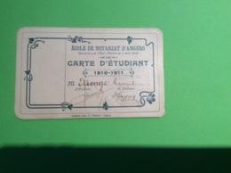 Angers Carte D étudiant école De Notariat D Angers Année 1910/1911 Étienne Georges Généalogie - Other