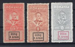 Rumänien 9.Armee FISKALMARKEN 30B-5L * MH (A6922 - Besetzungen 1914-18