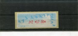 France 1 Vignette Distributeur Type C LISA  N°YT 217 - J+2 17,00 - 1990 Type «Oiseaux De Jubert»